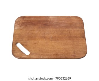 brown old rectangular wooden cutting board isolated on white background, forward tilt