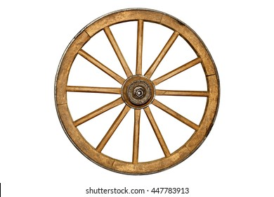 brown old wooden wheel isolated on white background
