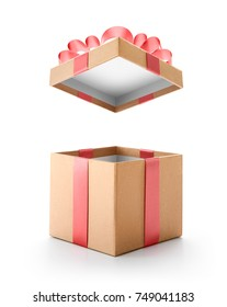 Brown open gift box with red bow isolated on white background