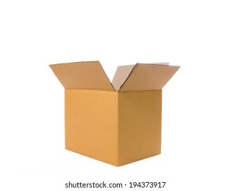 Brown opened various cardboard box isolated on white. Save with clipping path.