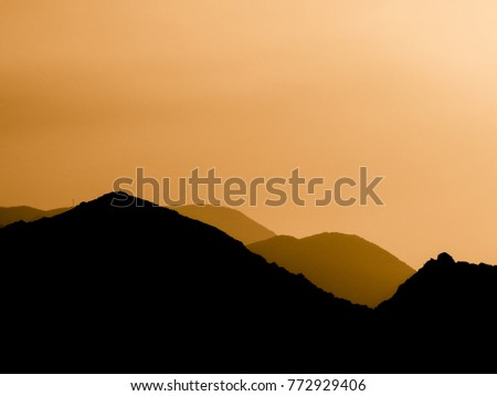 brown outline black mountains magnificent natural stock photo edit