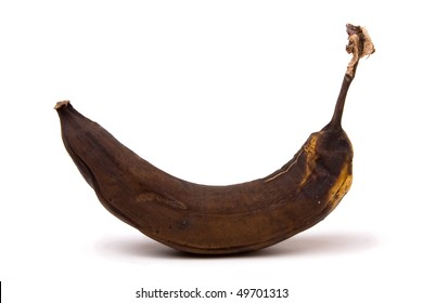 Brown Over Ripe Banana isolated against white background.
