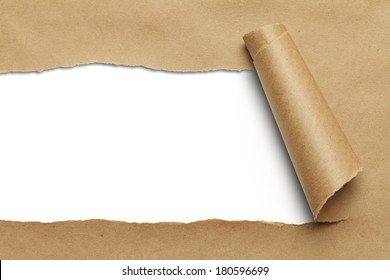 Brown Package Paper Rolled Up with White Background.