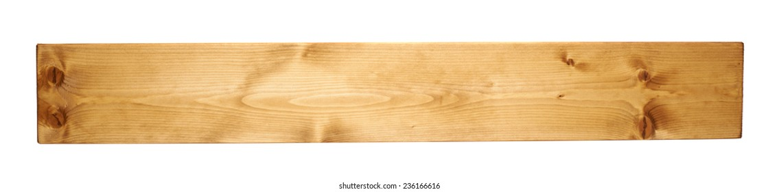 Brown paint coated pine wood board plank isolated over the white background
