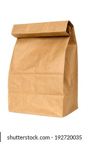 Brown Paper Bag Close Up Shot Isolated On White/ Take Your Lunch And Save Money