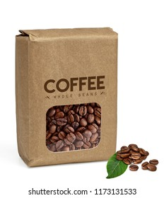 Brown paper bag with coffee beans in transparent window isolated on white background