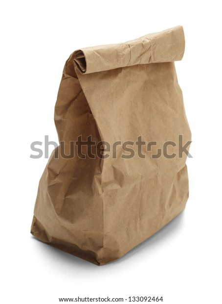 Brown paper bag crunched isolated on a white background.