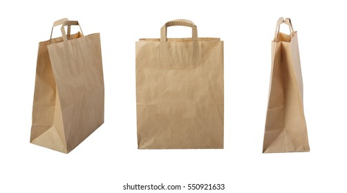 Brown paper bag isolate on white background