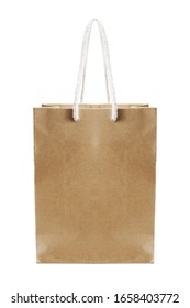 brown paper bag isolated on white background with clipping path.vertical image