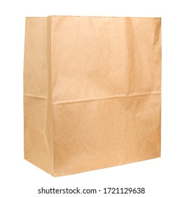 Brown paper bag isolated on white background, clipping path, full depth of field