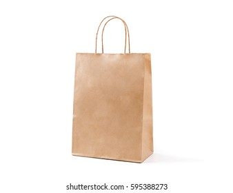 Brown paper bag  isolated on white background.