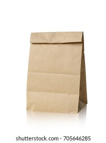 Brown paper bag isolated on white background. This has clipping path.