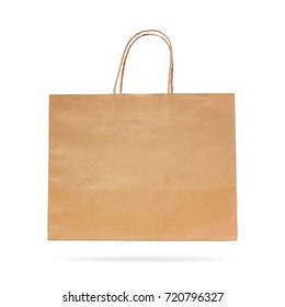 Brown paper bag isolated on white background. Recycle package for shopping. Clipping paths object.