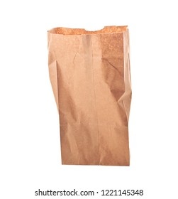 Brown paper bag isolated onr white background