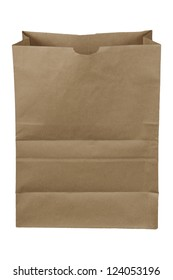 Brown paper bag isolated over a white background