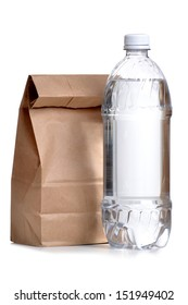 brown paper bag lunch with water bottle