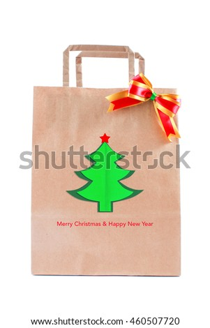 Brown Paper Bag Ribbon Bow Christmas Stock Photo Edit Now