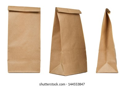 Brown paper bag set isolated on white background