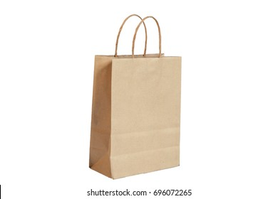 Brown paper bag In white background (Have clipping path).