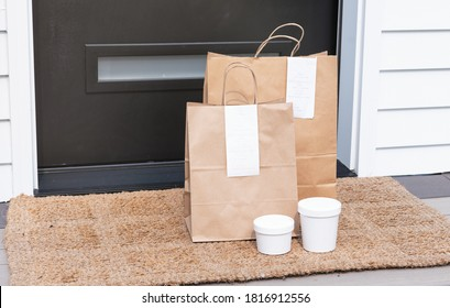 Brown Paper Bags with Contact Less Food Delivery Left at Door
