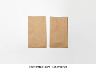 Brown Paper Bags Mockup isolated on a white background.High resolution photo.