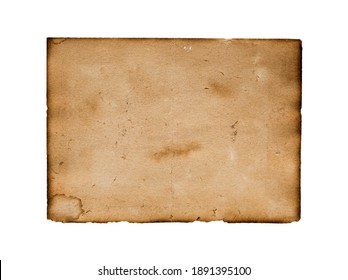 Brown paper blank texture crumpled dark border. Isolated on white background.