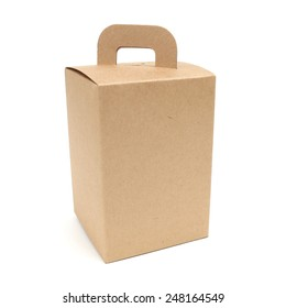 A brown paper box with handle