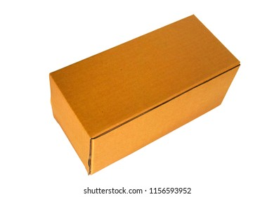 Brown paper box Placed on a white background.