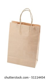 Brown paper carrier bag isolated over white background
