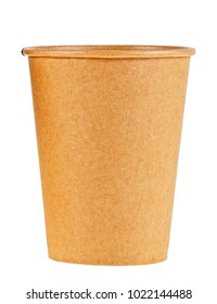 Brown paper disposable coffee cup isolated on white background