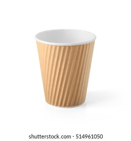 Brown Paper Disposable Coffee Cup isolated on White Background. Packaging template mockup collection. With clipping Path included.
