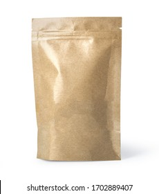 Brown paper food bag packaging with valve and seal, with clipping path