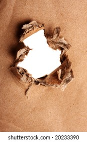 Brown paper with hole