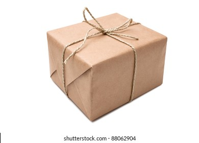 brown paper parcel isolated on white background