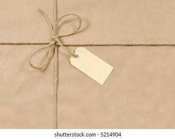 Brown paper parcel, package background, label
