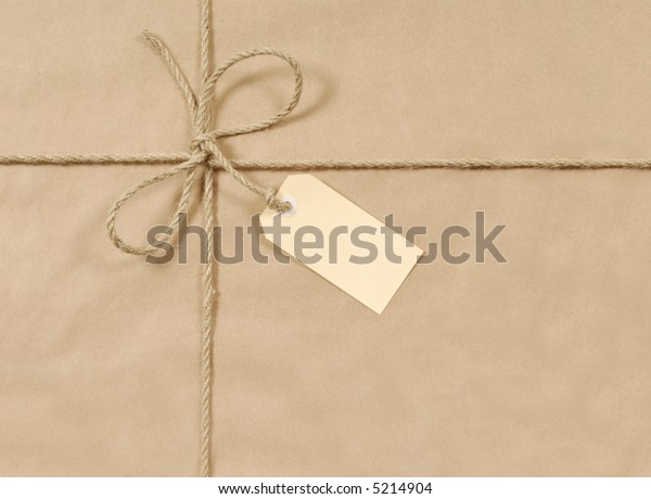 Brown paper parcel, package background, label