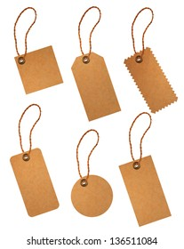 brown paper price tags isolated on white background