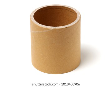 Brown paper roll on white background