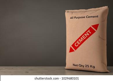 Brown Paper Sacks Cement Bag on a Wooden Floor. 3d Rendering