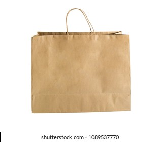 Brown paper shopping bags isolated on white background with clipping path.