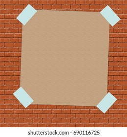 brown paper sign taped to brick wall illustration