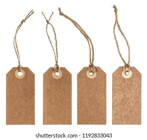 Brown paper tag with string isolated on white background
