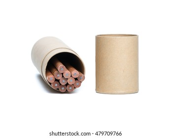 brown paper tube and pencils isolated on white background