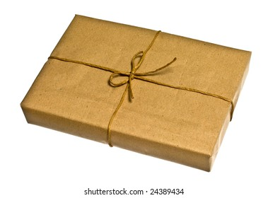 Brown parcel isolated on white background