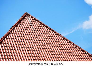 brown peaked roof