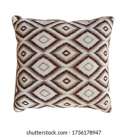 brown pillow cushion isolated on white background. Details of modern boho, bohemian, scandinavian style.