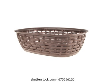 Brown plastic wicker basket on a white background