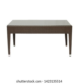 Brown Plastic Wicker Coffee Table with Plastic Legs on White Background