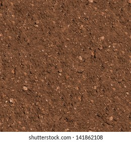 Brown Plowed Soil. Seamless Tileable Texture. .