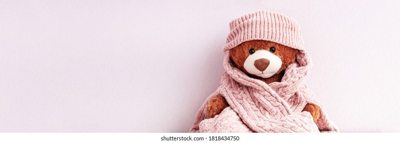 Brown plush teddy bear in knitted sweater and hat, autumn and winter season. Stuffed soft toy wearing cap and scarf, holidays greetings card, website banner with pink copy space. Love and care
